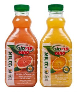 מיץ תפוזים אורגני ומיץ אשכוליות אדומות אורגני פרימור צילום עמית שטראוס