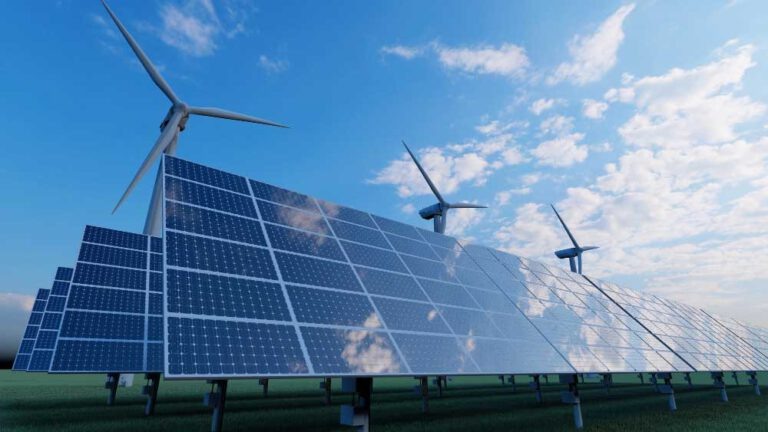 Solar Panel Wind Turbine Field